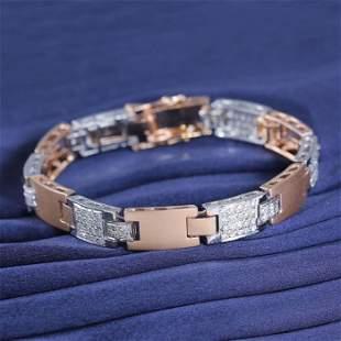 18 K / 750 White & Rose Gold Men's Diamond Bracelet