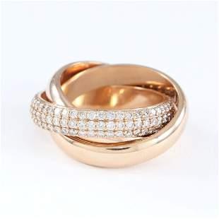 18 K / 750 Rose Gold CARTIER Style TRINITY Diamond Ring
