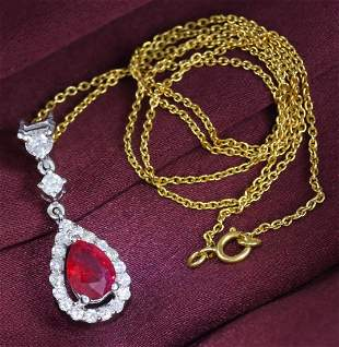 14 K White Gold Ruby (GIA Cert.) & Diamond Pendant