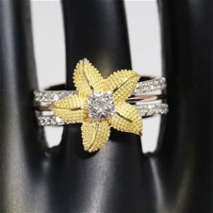 18 K Yellow Gold IGI Certified Designer Diamond Ring
