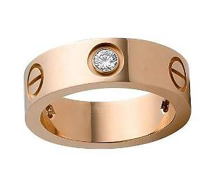18K Rose Gold CARTIER Style Eternity Diamond Band Ring