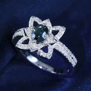 14 K White Gold GIA Cert. Blue Sapphire & Diamond Ring