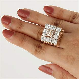 IGI Cert. 14 K White & Rose Gold Diamond Cocktail Ring