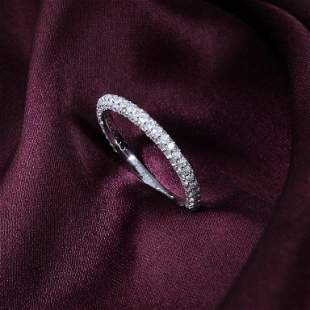 14 K / 585 White Gold Diamond Band Ring