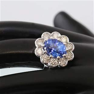 14K White Gold Blue Sapphire (IGI Cert.) & Diamond Ring