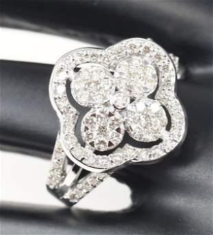 18 K / 750 White Gold IGI Certified Diamond Ring