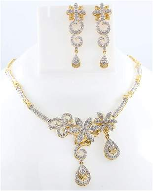 14 K Yellow Gold Diamond Necklace & Chandelier Earrings