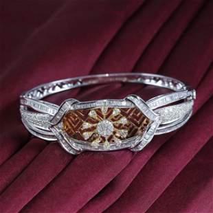 14 K White Gold IGI Certified Designer Diamond Bracelet
