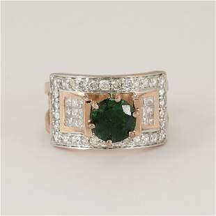 14 K Rose Gold Tsavorite Garnet & Diamond Ring