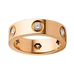 18 K Rose Gold CARTIER Style Eternity Diamond Band Ring
