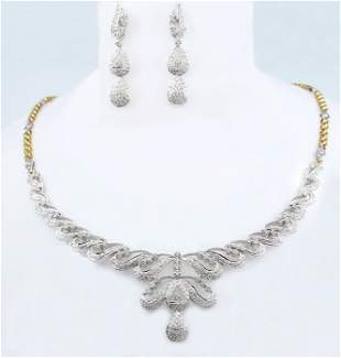 14 K White & Yellow Gold Diamond Necklace with Earrings