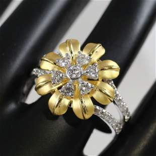 18K/750 Yellow Gold IGI Certified Designer Diamond Ring