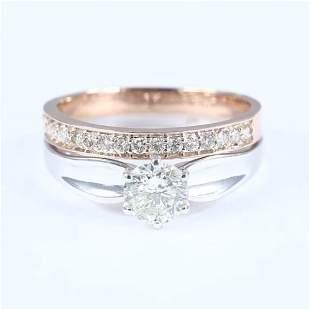 18 K / 750 White & Rose Gold Set of 2 Rings