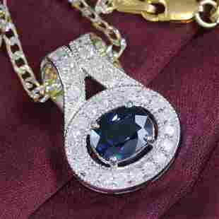14K White Gold Blue Sapphire & Diamond Pendant Necklace