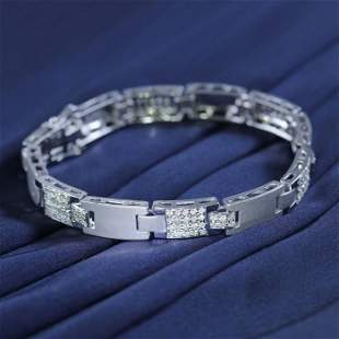 14 K / 585 White Gold Men's Diamond Bracelet