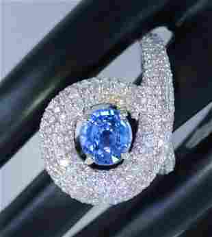 14 K / 585 White Gold Blue Sapphire & Pink Diamond Ring