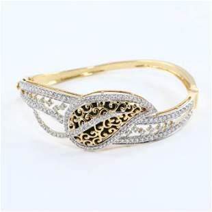 14 K Yellow Gold IGI Cert. Designer Diamond Bracelet