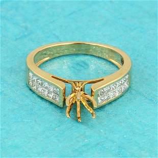 14 K Yellow Gold Diamond Ring - Center stone unmounted