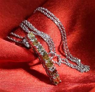14 K White Gold Fancy Color Diamond Pendant Necklace
