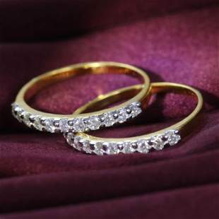 14 K / 585 Yellow Gold Set of 2 Diamond Band Rings