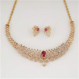 18 K Yellow Gold Diamond & Ruby Necklace with Earrings