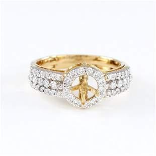 18 K Yellow Gold Diamond Ring - Center stone unmounted