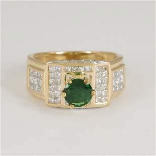 14 K Yellow Gold Tsavorite Garnet & Diamond Ring