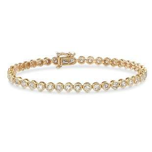 14 K / 585 Yellow Gold Tennis Bracelet with Diamonds