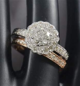 18 K / 750 White & Rose Gold Set of 2 diamond Rings