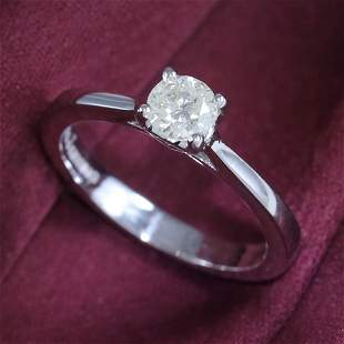 14 K / 585 White Gold Solitaire Diamond Ring