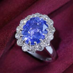 14K / 585 White Gold Blue Sapphire (IGI) & Diamond Ring
