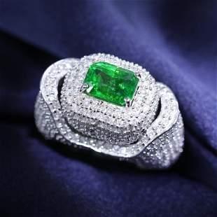 14 K White Gold Tsavorite Garnet (GRS) & Diamond Ring