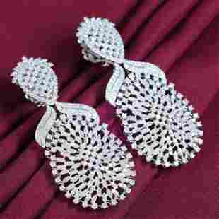 IGI Cert. 14 K White Gold Diamond Chandelier Earrings