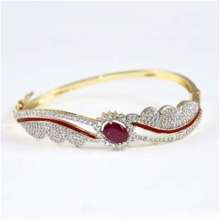 14 K Yellow Gold Bracelet Ruby, Diamonds & Enamel work
