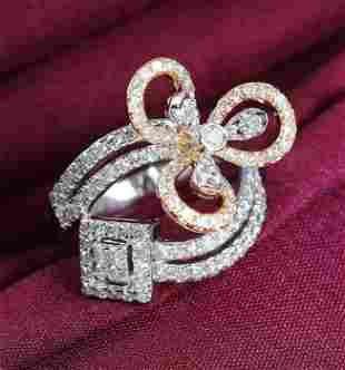 IGI Certified 18 K Yellow Gold Designer Diamond Ring