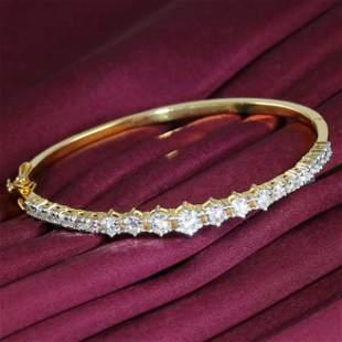 14 K Yellow Gold IGI Cert. Solitaire Diamond Bracelet