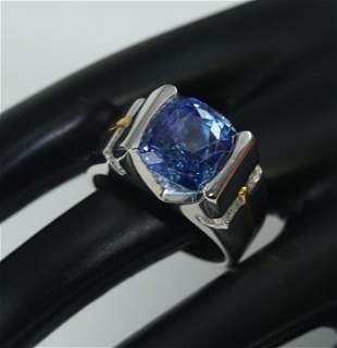 14K White Gold 7.50 ct. Blue Sapphire & Diamond Ring