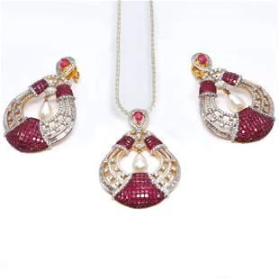 14 K Yellow Gold Diamond, Ruby & Pearl Earrings-Pendant