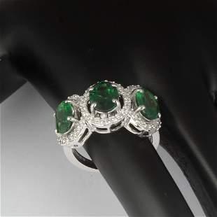 14 K / 585 White Gold Tsavorite Garnets & Diamond Ring