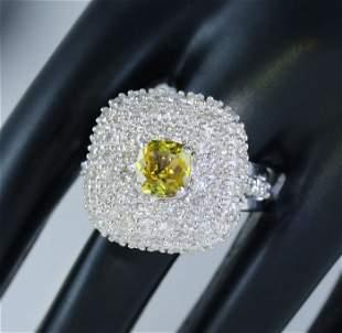 14 K White Gold Alexandrite (IGI Cert.) & Diamond Ring