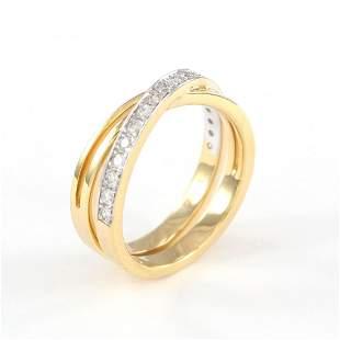 18 K / 750 Yellow Gold CARTIER Style Diamond Ring