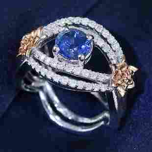 14 K White Gold GIA Cert. Blue Sapphire & Diamond Ring