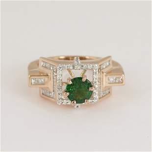 14 K / 585 Rose Gold Tsavorite Garnet & Diamond Ring
