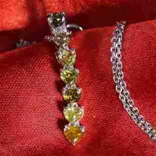 14K/585 White Gold Heart Fancy Diamond Pendant Necklace