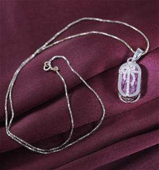 14 K White Gold Kunzite & Diamond Pendant Necklace