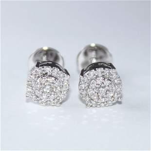 14 K / 585 White Gold Diamond Earring Studs