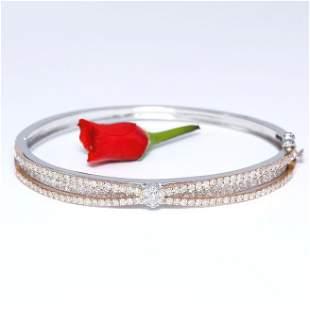 14 K White & Rose Gold Designer Diamond Bracelet