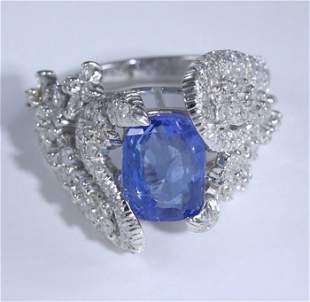 14 K White Gold Blue Sapphire (IGI Cert) & Diamond Ring