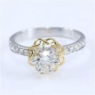 18 K White & Yellow Gold Solitaire Diamond Ring