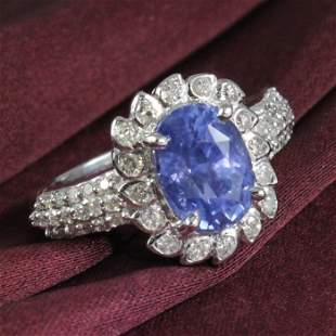 14 K White Gold Blue Sapphire (IGI Cert.) Diamond Ring